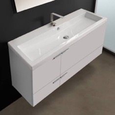 47 Inch Glossy White Bathroom Vanity Set, Large Basin Sink