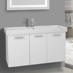 39 Inch Glossy White Wall Mount Bathroom Vanity with Fitted Ceramic Sink