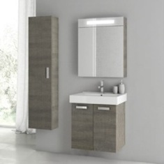 23 Inch Grey Oak Bathroom Vanity Set C58