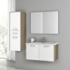 33 Inch Glossy White and Larch Canapa Bathroom Vanity Set NI05