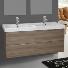 ARCOM DF01 47 Inch Wall Mount Larch Canapa Double Vanity Cabinet With Fitted Sink