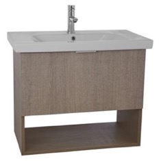 ARCOM OP01 32 Inch Wall Mount Canapa Tranche Oak Vanity Set, 1 Drawer and Open Space OP01