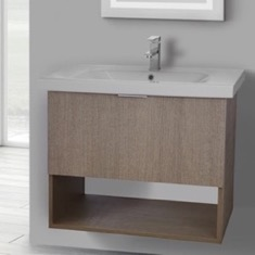 ARCOM OP01 32 Inch Wall Mount Canapa Tranche Oak Vanity Set, 1 Drawer and Open Space