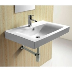 Rectangular White Ceramic Wall Mounted bathroom Sink CA4270B
