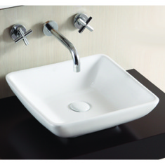 Square White Ceramic Vessel Bathroom Sink