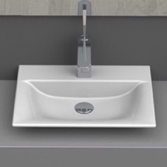 CeraStyle 031600-U Rectangle White Ceramic Wall Mounted or Vessel Sink 031600-U