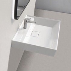 Square White Ceramic Wall Mounted or Drop In Sink