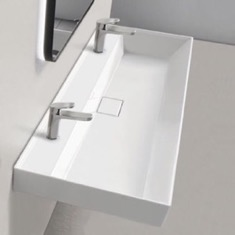 Trough Ceramic Wall Mounted or Drop In Sink