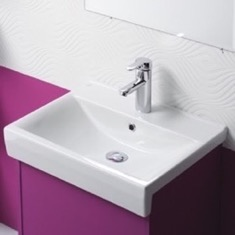 Rectangle White Ceramic Semi Recessed or Wall Mounted Sink