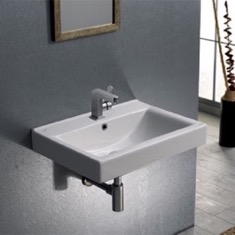 CeraStyle 064200-U Rectangular White Ceramic Wall Mounted or Drop In Bathroom Sink