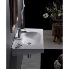Rectangle White Ceramic Wall Mounted Sink or Drop In Sink