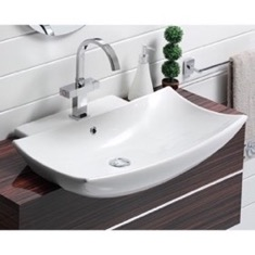 Curved Rectangular White Ceramic Wall Mounted or Semi-Recessed Sink