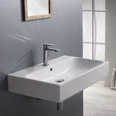 CeraStyle 080000-U Rectangular White Ceramic Wall Mounted or Vessel Bathroom Sink