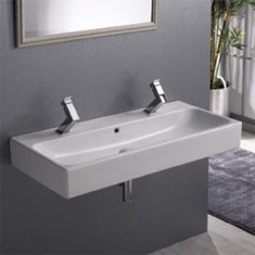 Rectangular White Ceramic Wall Mounted or Vessel Bathroom Sink 080500-U