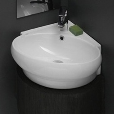 CeraStyle 002000-U Round Corner White Ceramic Wall Mounted or Vessel Sink 002000-U