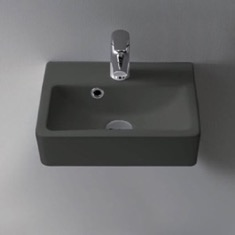 Small Matte Black Ceramic Wall Mounted or Vessel Sink