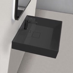 Square Matte Black Ceramic Wall Mounted or Drop In Sink