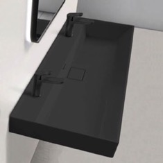 Trough Matte Black Ceramic Wall Mounted or Drop In Sink