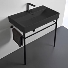 Rectangular Matte Black Ceramic Console Sink and Matte Black Stand