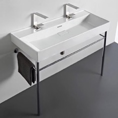 Trough White Ceramic Console Sink and Polished Chrome Stand