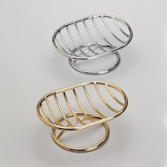 Chrome or Gold Finish Oval Countertop Wire Soap Dish