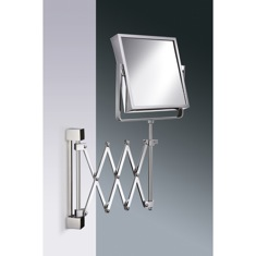 Square Wall Mounted Extendable 3x or 5x Brass Magnifying Mirror