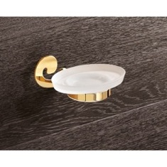 Wall Mounted Frosted Glass Soap Holder With Gold Finish Mounting