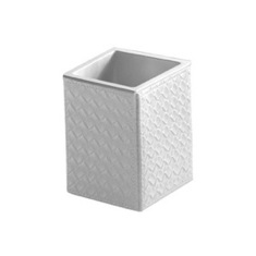 Square Faux Leather Toothbrush Holder