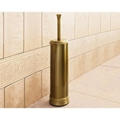 Round Polished Bronze Toilet Brush Holder