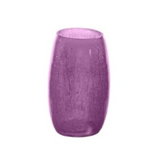 Round Purple Crackled Glass Toothbrush Holder