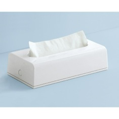 Rectangular Tissue Box Cover In White Finish
