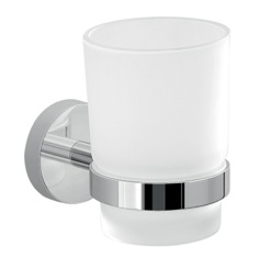 Frosted Glass Toothbrush Holder With Chrome Wall Mount