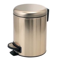 Matte Gold Finish Floor Standing Stainless Steel Waste Basket