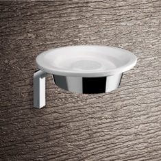 Wall Mounted Round Glossy White Pottery Soap Dish With Chrome Mounting