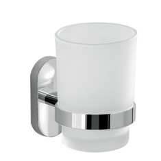 Glass Toothbrush Holder With Chrome Mounting