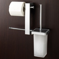 Wall Mount Chrome Rack With Tissue Holder and Toilet Brush 7640-13