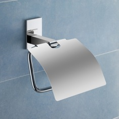 Chromed Brass Toilet Roll Holder With Cover