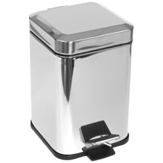 Square Chrome Waste Bin With Pedal