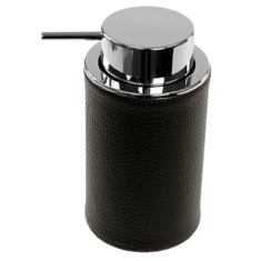 Round Soap Dispenser Made From Faux Leather In Wenge Finish