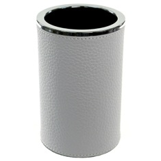 Round Toothbrush Holder Made From Faux Leather in White Finish