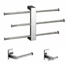 Wall Mounted 3 pc Set With Adjustable Towel Rack