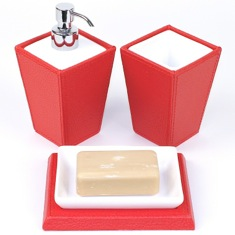 Gedy KY200-06 Kyoto Red Faux Leather and Pottery Accessory Set KY200-06
