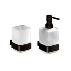Wall Mounted Soap Dispenser And Toothbrush Tumbler Set
