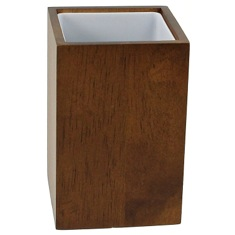 Brown and Square Bathroom Tumbler in Wood