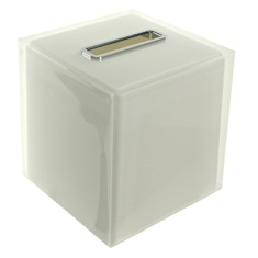 Thermoplastic Resin Square Tissue Box Cover in White Finish