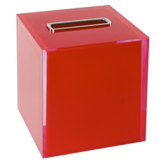 Thermoplastic Resin Square Tissue Box Cover in Red Finish
