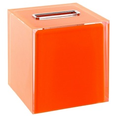 Thermoplastic Resin Square Tissue Box Cover in Orange Finish