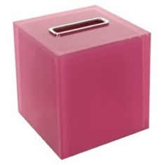 Thermoplastic Resin Square Tissue Box Cover in Pink Finish