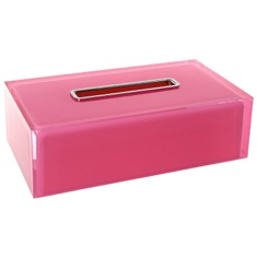 Thermoplastic Resin Rectangular Tissue Box Cover in Pink Finish