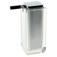 Square Silver Finish Countertop Soap Dispenser
